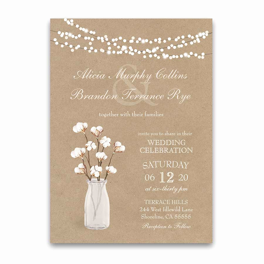 Rustic Wedding Invitation Paper Awesome Rustic Kraft Paper Wedding Invitation Cotton Branches