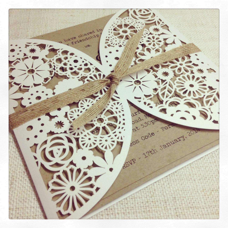 Rustic Wedding Invitation Paper Beautiful Rustic Floral Paper Lace Wedding Invitation by