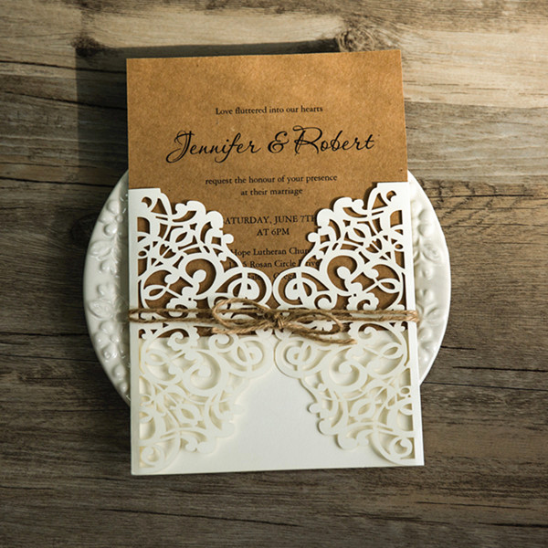 Rustic Wedding Invitation Paper Lovely Rustic Kraft Paper Laser Cut Invitations with Twines