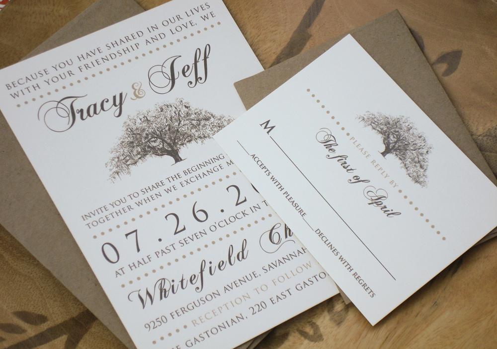 Rustic Wedding Invitation Paper Lovely Rustic Magnolia Tree Wedding Invitations with Kraft Paper