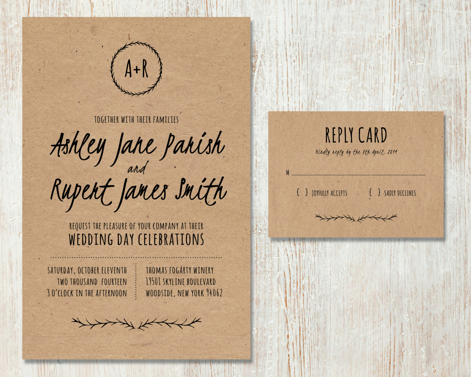 Rustic Wedding Invitation Paper Lovely Rustic Wedding Invitation Diy Kraft Paper Invitation Country