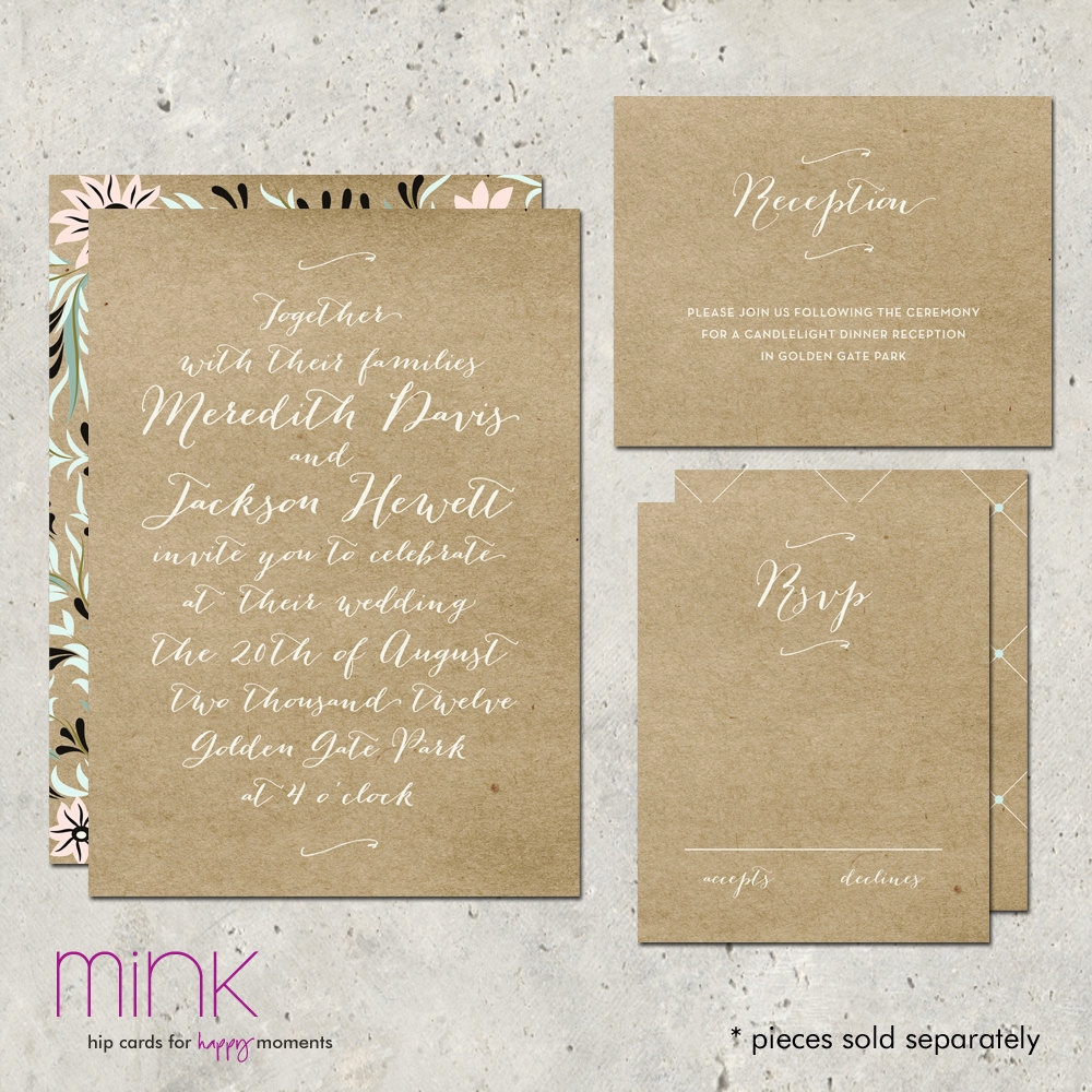Rustic Wedding Invitation Paper Lovely Wedding Invitation Rustic Kraft Paper Floral Pattern by