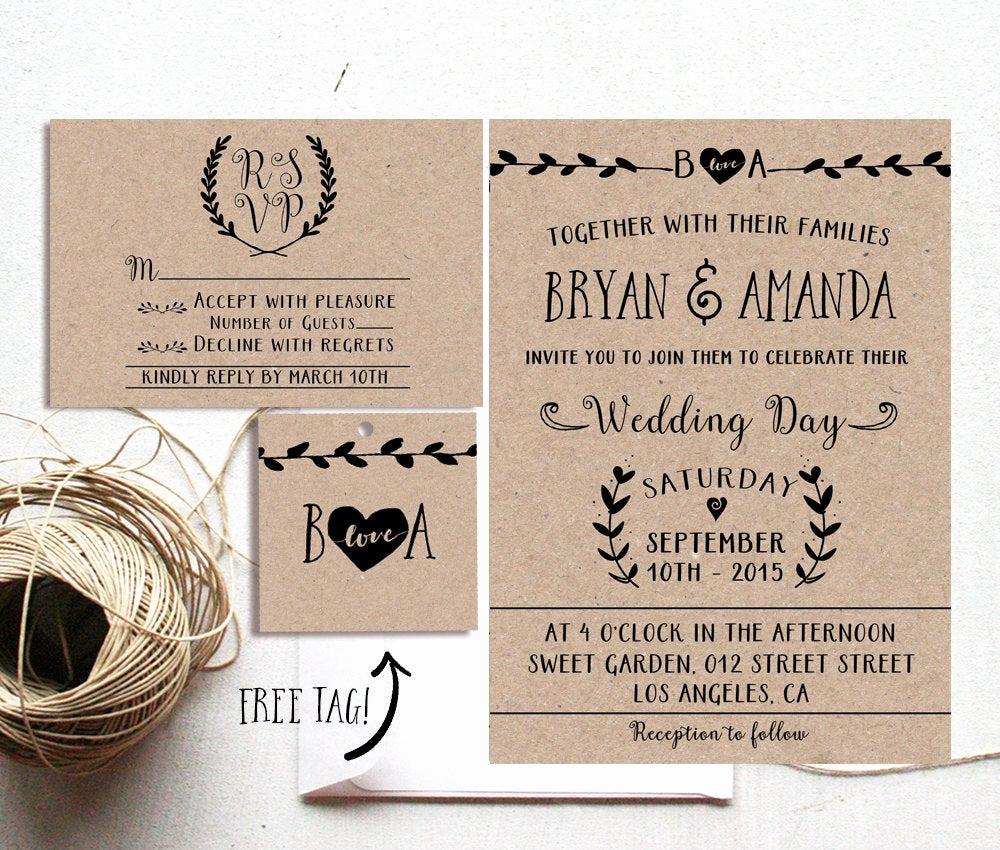 Rustic Wedding Invitation Paper Luxury Rustic Wedding Invitation Printable Kraft Paper Rustic