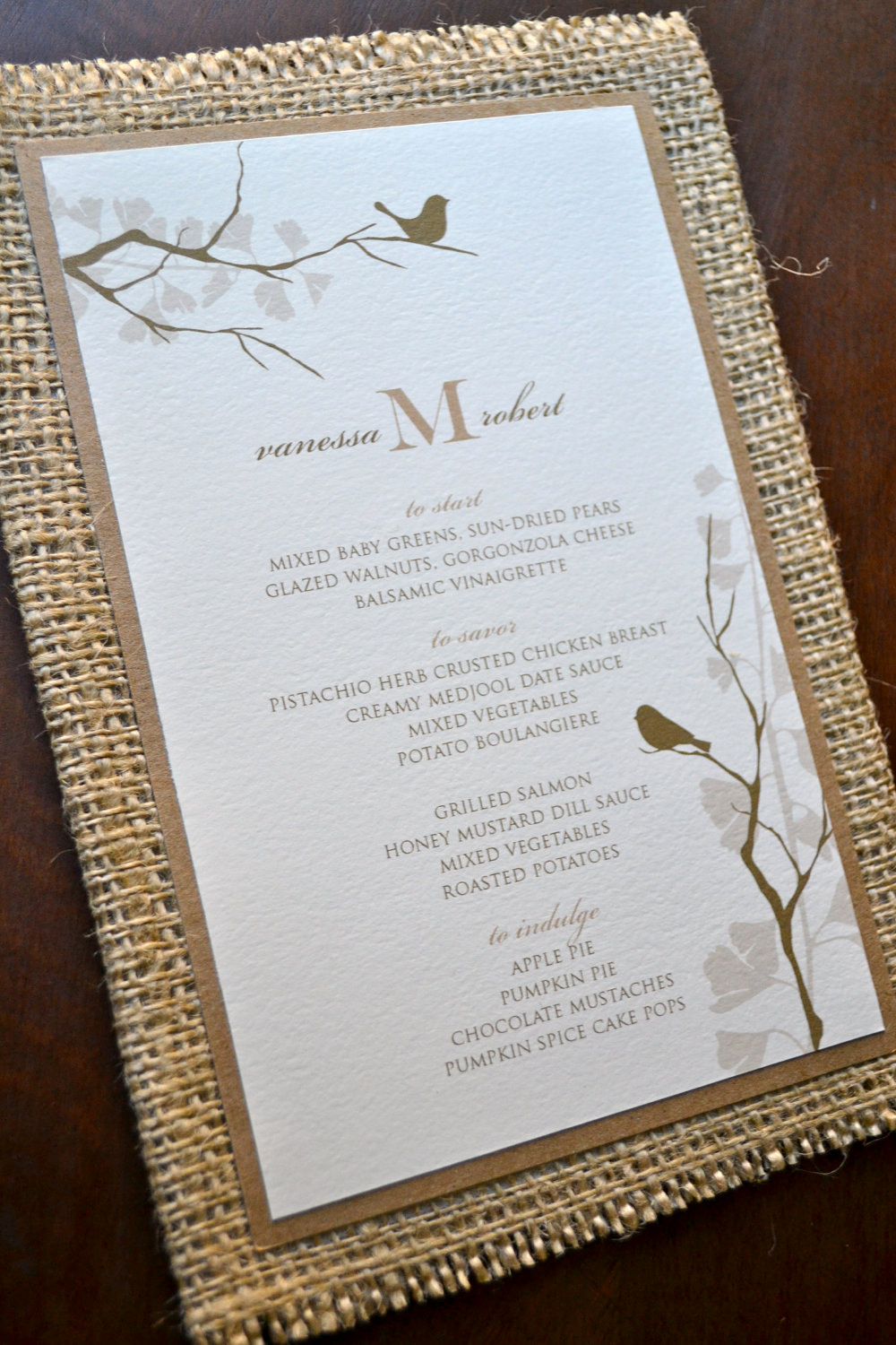 Rustic Wedding Invitation Paper Luxury Rustic Wedding Menu with Burlap and Recycled Paper