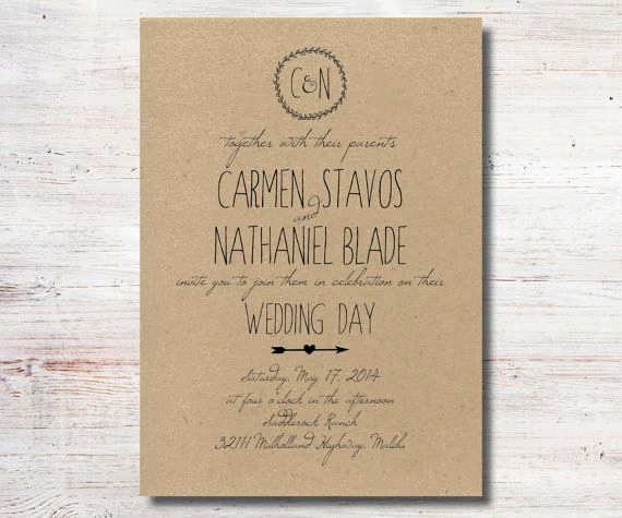 Rustic Wedding Invitation Paper New Rustic Wedding Invitation Kraft Paper by