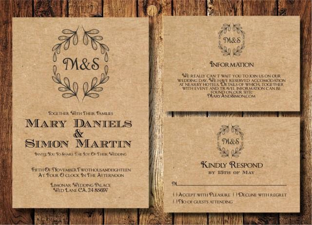Rustic Wedding Invitation Paper New Rustic Wedding Invitation Template Set Kraft Paper Wreath