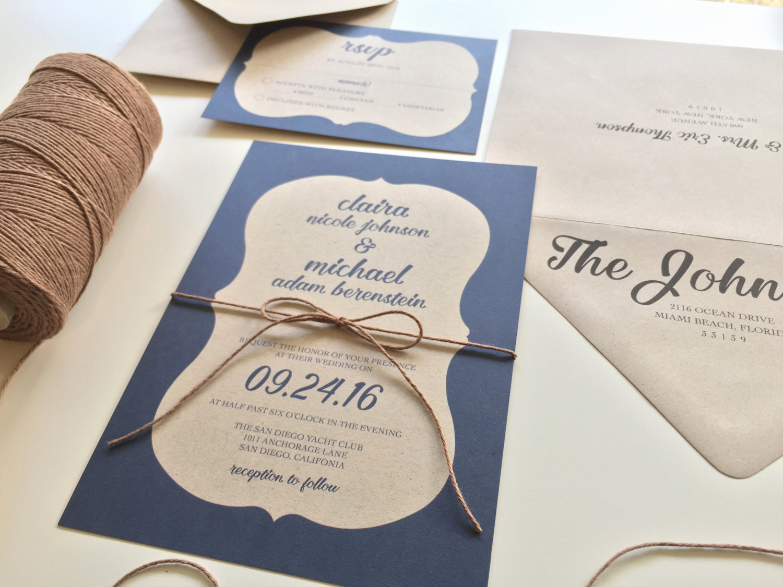 Rustic Wedding Invitation Paper New Sample ornate Border Kraft Paper Wedding Invitation Suite