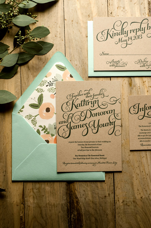 Rustic Wedding Invitation Paper Unique Typography Wedding Invitations