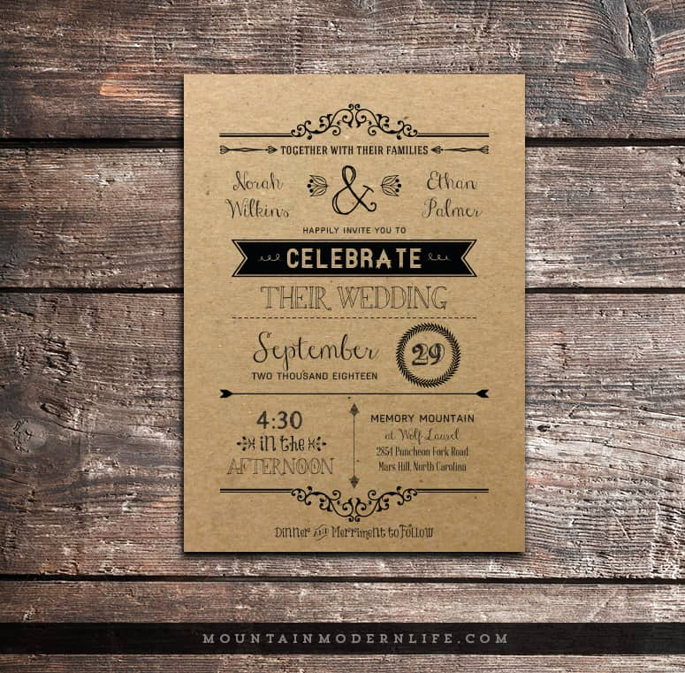 Rustic Wedding Invitation Paper Unique Vintage Rustic Diy Wedding Invitation Template
