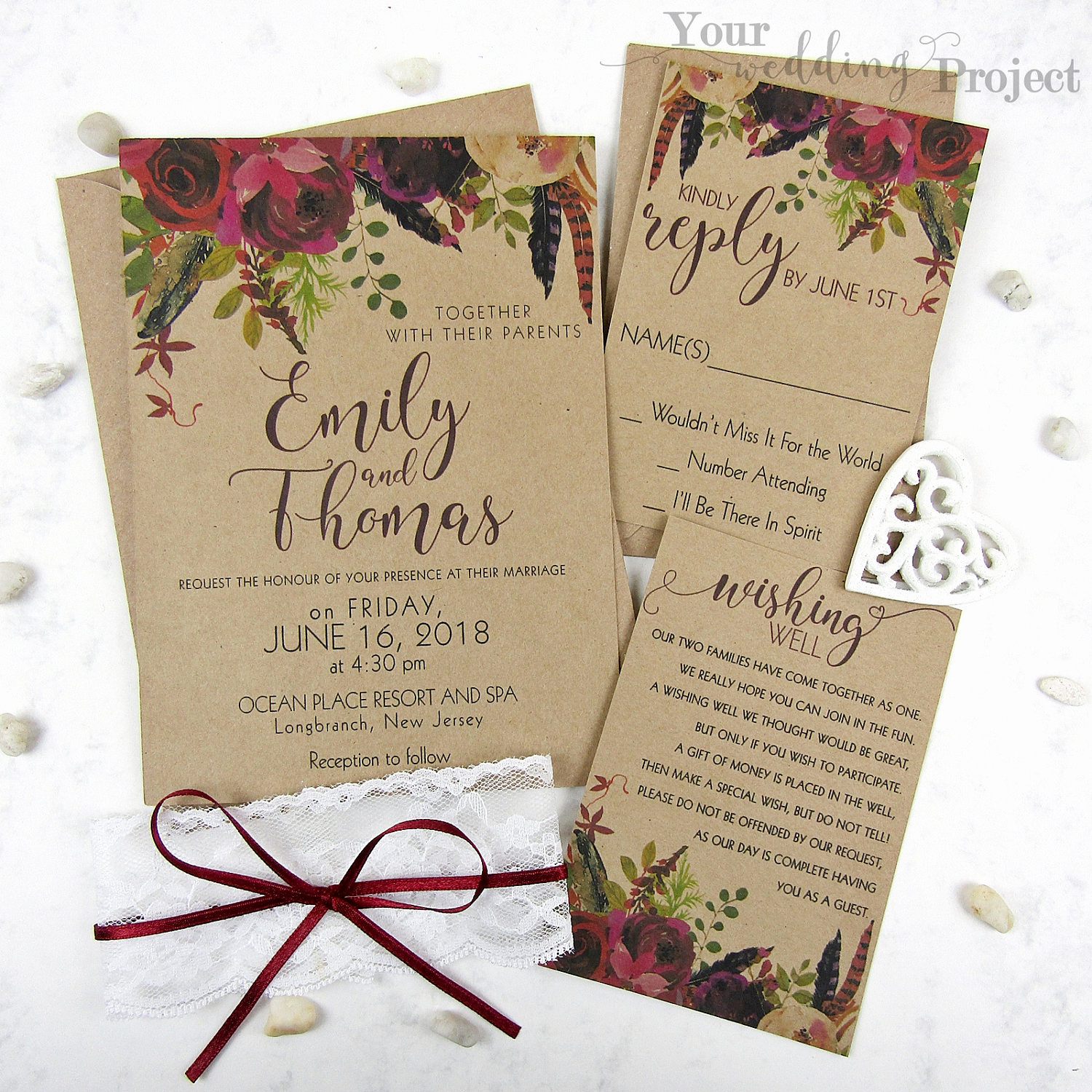 Rustic Wedding Invitation Sets Awesome Burgundy Floral Wedding Invitation Set with Lace Rustic