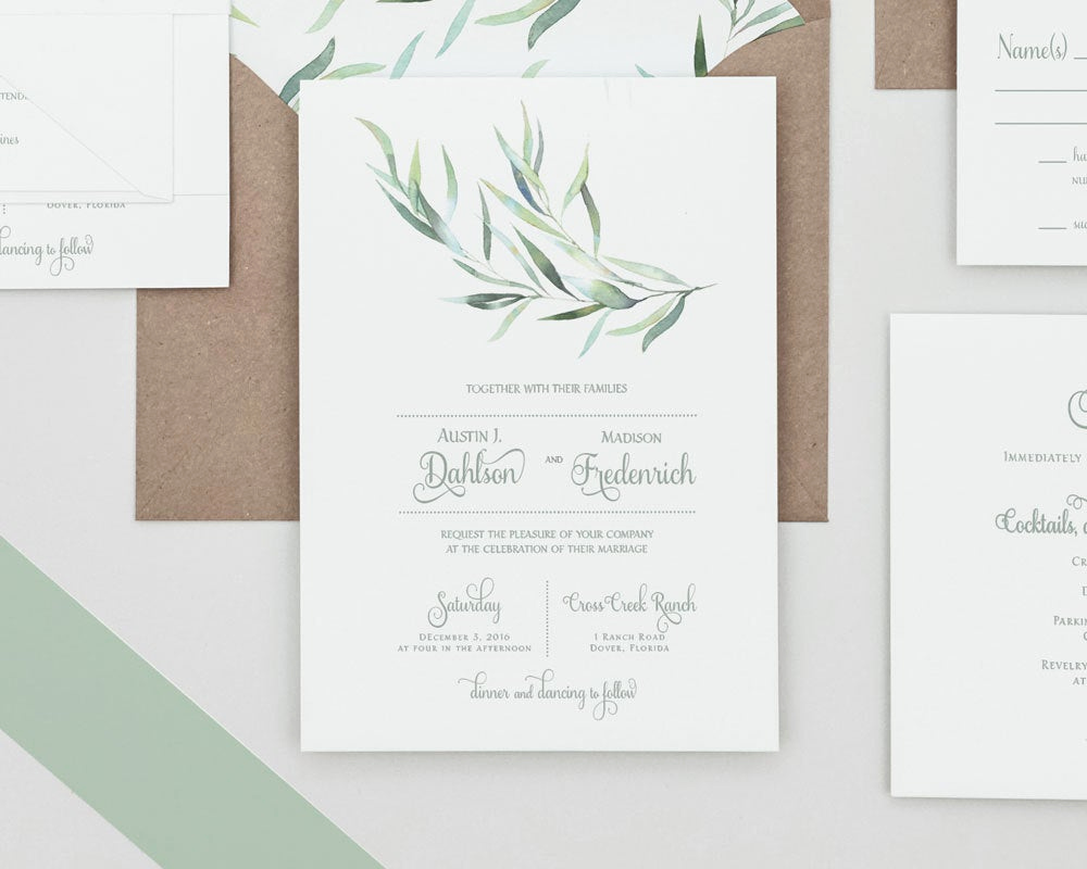 Rustic Wedding Invitation Sets Awesome Rustic Greenery Wedding Invitations Set Eucalyptus Greenery