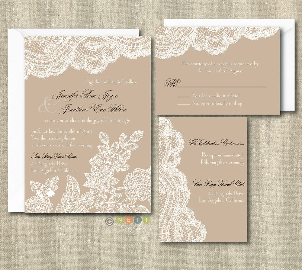 Rustic Wedding Invitation Sets Elegant 100 Personalized Custom Rustic Vintage Lace Wedding