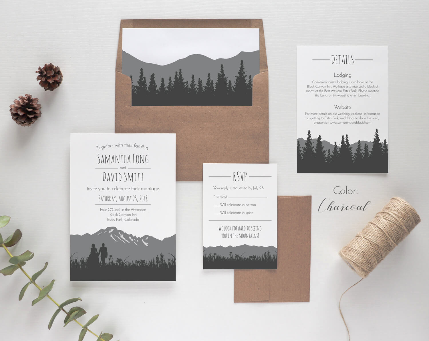 Rustic Wedding Invitation Sets Elegant Rustic Mountain Wedding Invitation Sets