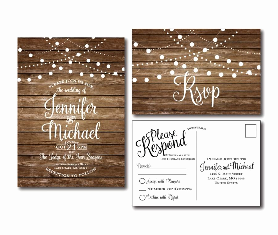 Rustic Wedding Invitation Sets Elegant Rustic Wedding Invitation & Rsvp Postcard Set Country
