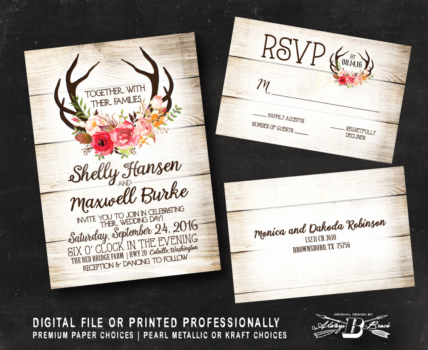 Rustic Wedding Invitation Sets Elegant Rustic Wedding Invitation Set Wood Wedding Invitation