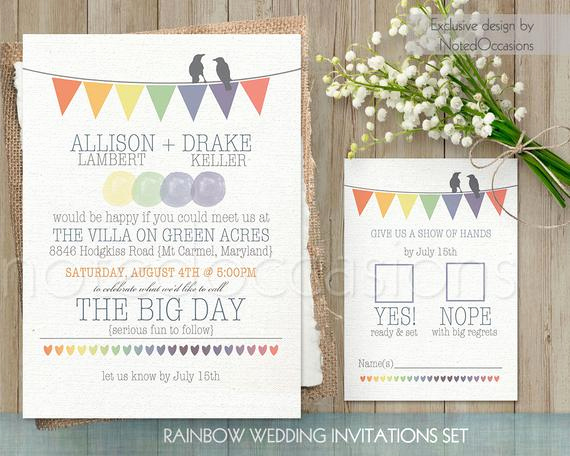 Rustic Wedding Invitation Sets Fresh Rustic Wedding Invitation Printable Set Rainbow Wedding