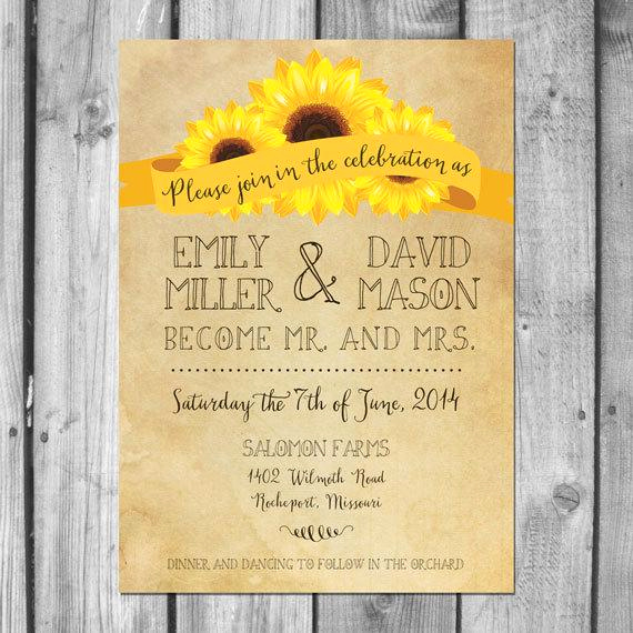 Rustic Wedding Invitation Sets Lovely Rustic Sunflower Wedding Invitation Set