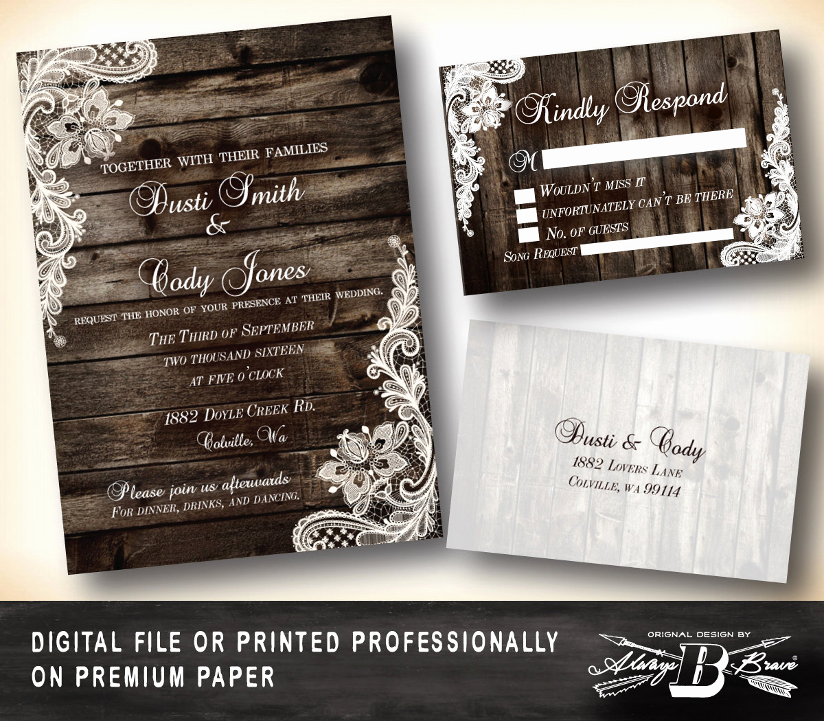 Rustic Wedding Invitation Sets Lovely Rustic Wedding Invitation Set Lace Wedding Invitation