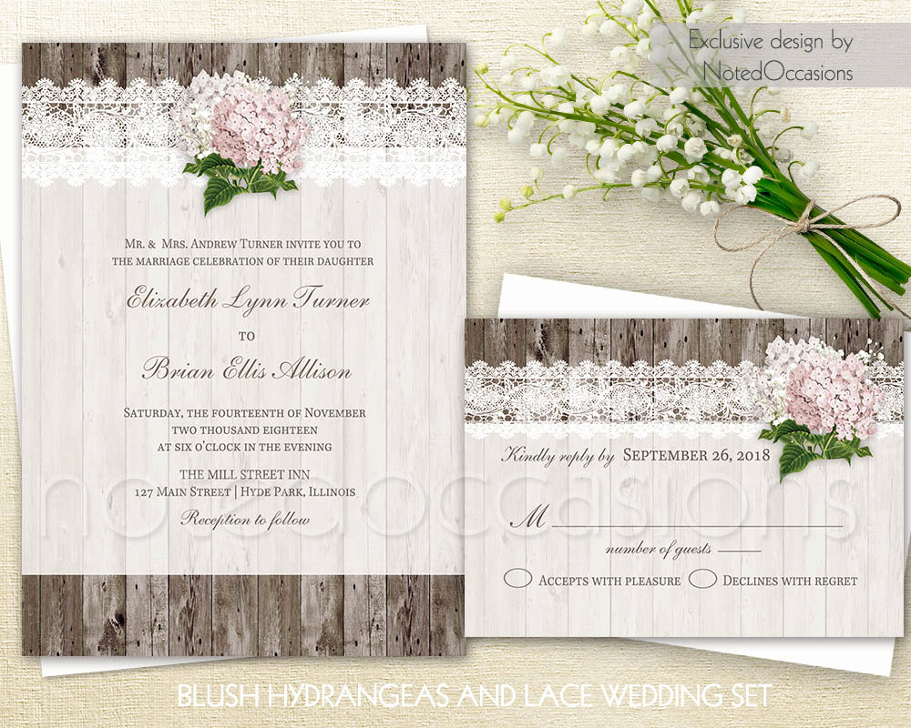 Rustic Wedding Invitation Sets Lovely Rustic Wedding Invitation Set Printable Lace by Notedoccasions