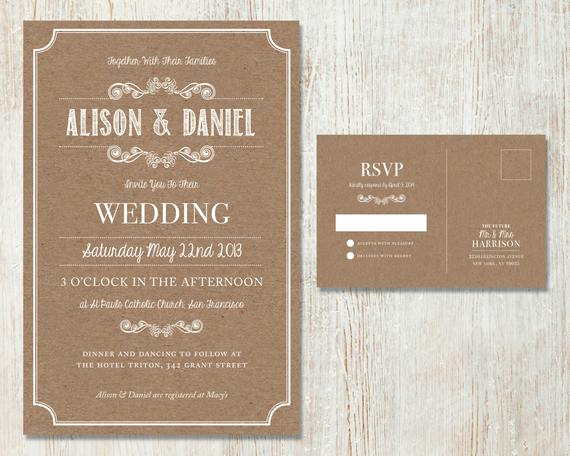 Rustic Wedding Invitation Sets Luxury Rustic Wedding Invitation Set Vintage Kraft Design Country