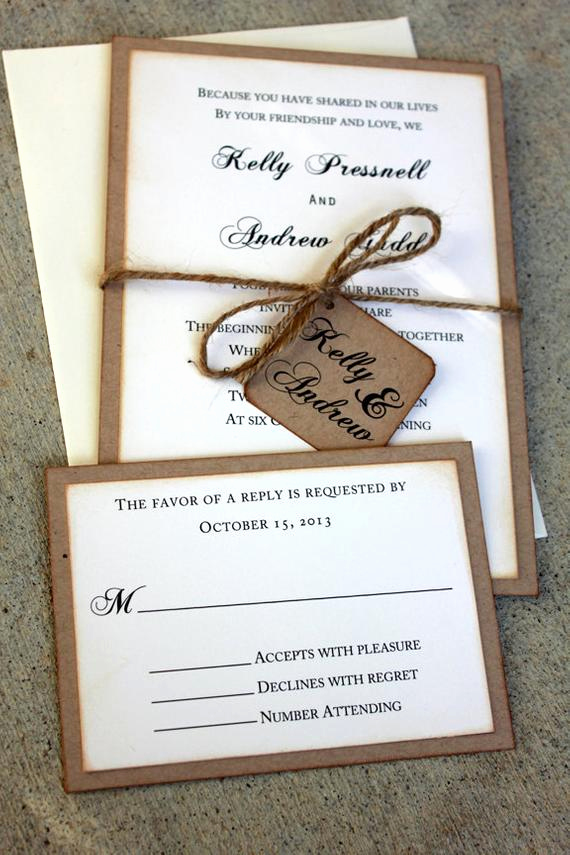 rustic wedding invitation set handmade