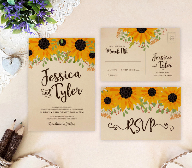 Rustic Wedding Invitation Sets New Rustic Wedding Invitation Sets Sunflower Wedding Invitations