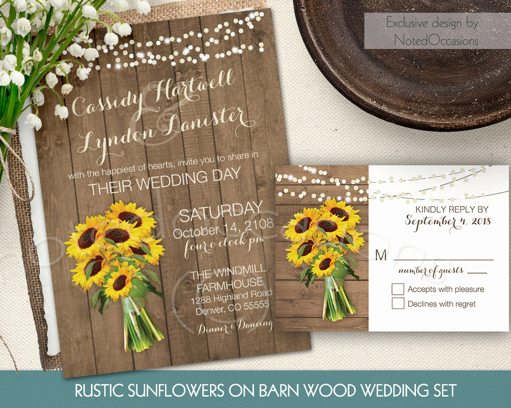 Rustic Wedding Invitation Sets Unique Rustic Sunflower Wedding Invitation Set Suite by