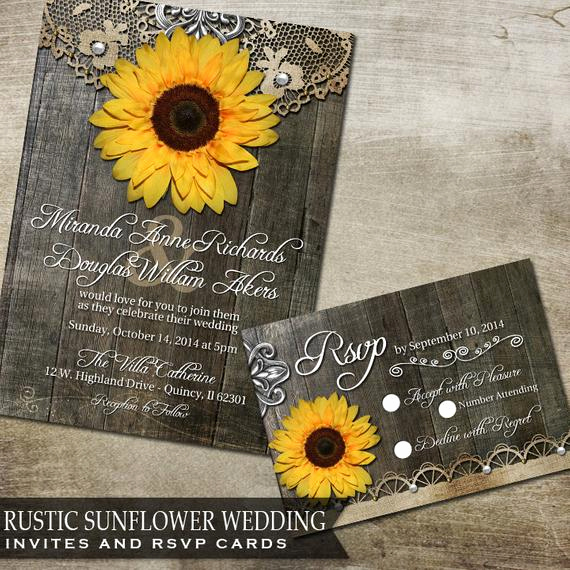 Rustic Wedding Invitation Sets Unique Sunflower Wedding Invitation Set Rustic Wedding by