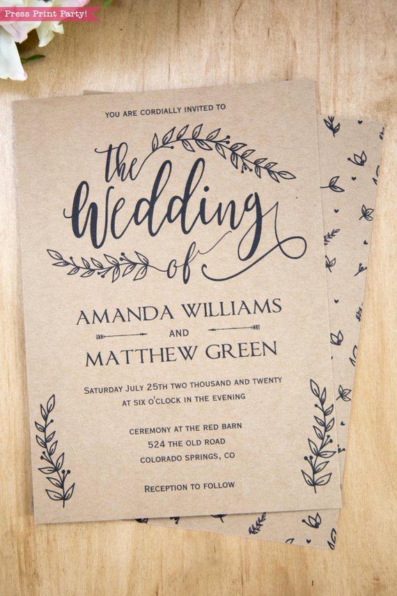 Rustic Wedding Invitation Templates Elegant Rustic Wedding Invitation Printable Leaf Design & Decor