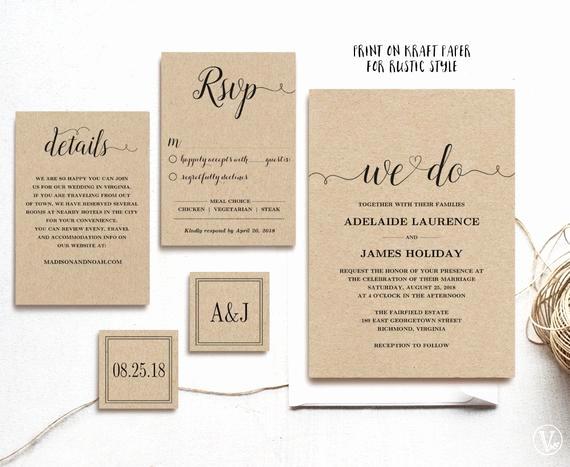 Rustic Wedding Invitation Templates Elegant Rustic Wedding Invitation Template 5 Piece by Vinewedding