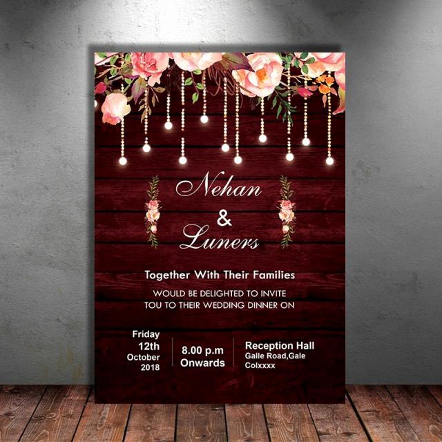 Rustic Wedding Invitation Templates Inspirational Maroon Floral Rustic Wedding Invitation Template for Free