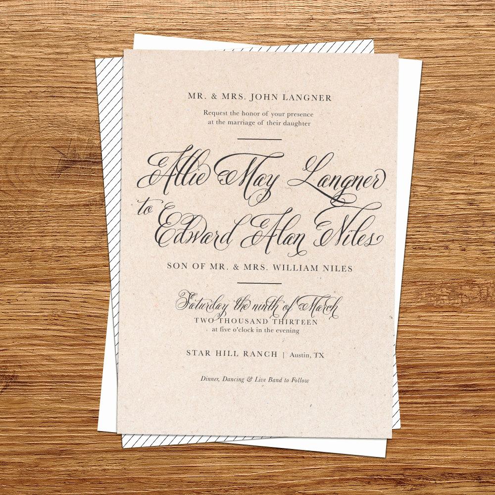 Rustic Wedding Invitation Templates Inspirational Rustic Wedding Invitation Kraft Paper Wedding by Kxodesign
