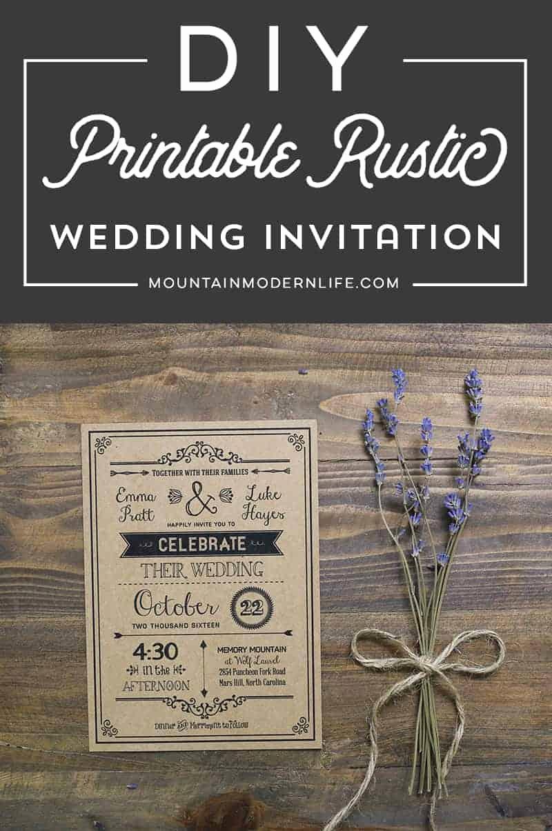 Rustic Wedding Invitation Templates Luxury Vintage Rustic Diy Wedding Invitation Template