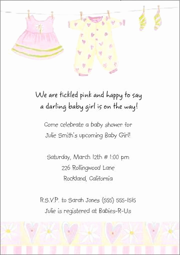 Sample Baby Shower Invitation Unique Cute Personalized Baby Girl Shower Invitations