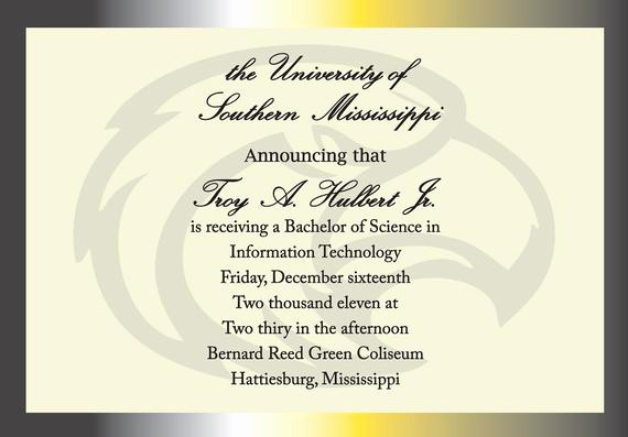 Sample College Graduation Invitation Luxury Items Similar to University Of southern Mississippi
