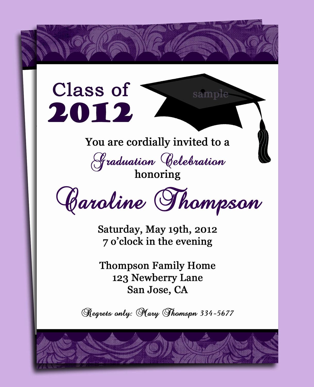 Sample College Graduation Invitation New Graduation Party or Announcement Invitation Printable or