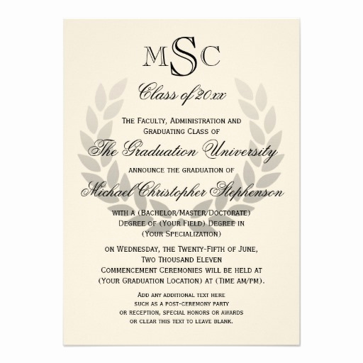 Sample College Graduation Invitation Unique Laurel Crest Monogram Classic College Graduation Custom