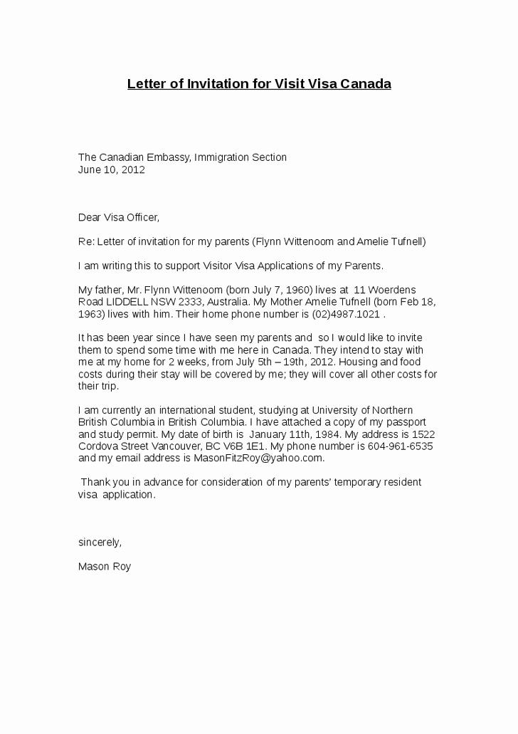 Sample Graduation Invitation Letter Best Of Letter Invitation Visit Visa Canada Business
