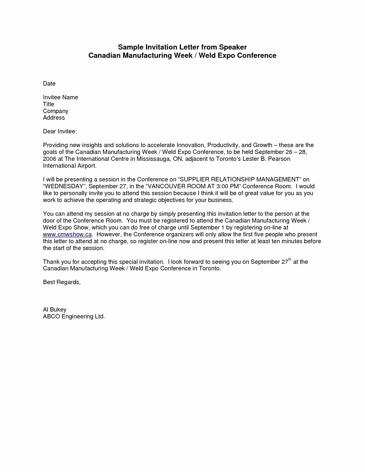 Sample Graduation Invitation Letter Fresh Sample formal Invitation Letter for A Guest Speaker