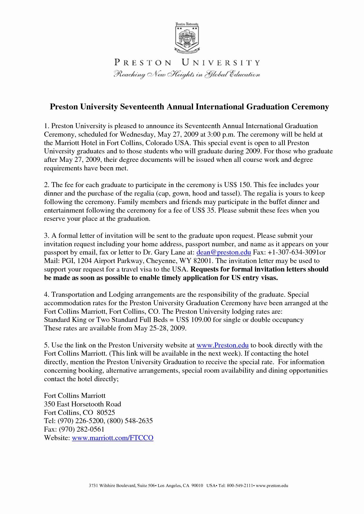 Sample Graduation Invitation Letter Luxury Graduation Invitation Examples