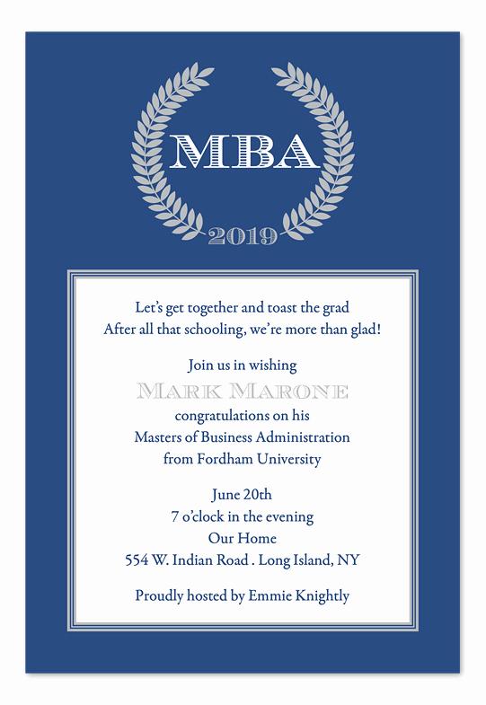 Sample Graduation Invitation Wording Elegant Mba Graduation Announcement Samples