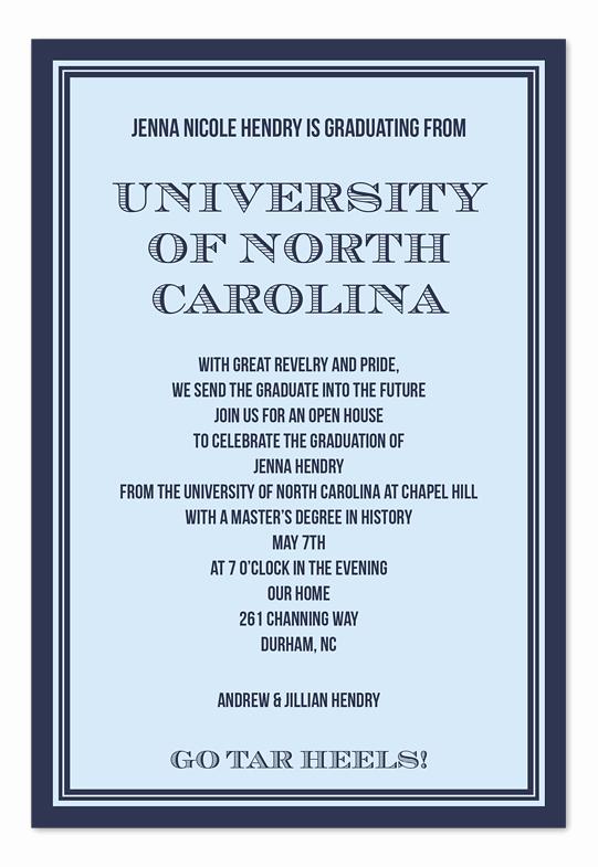 Sample Graduation Invitation Wording Luxury Collegiate Borders Graduation Announcements by