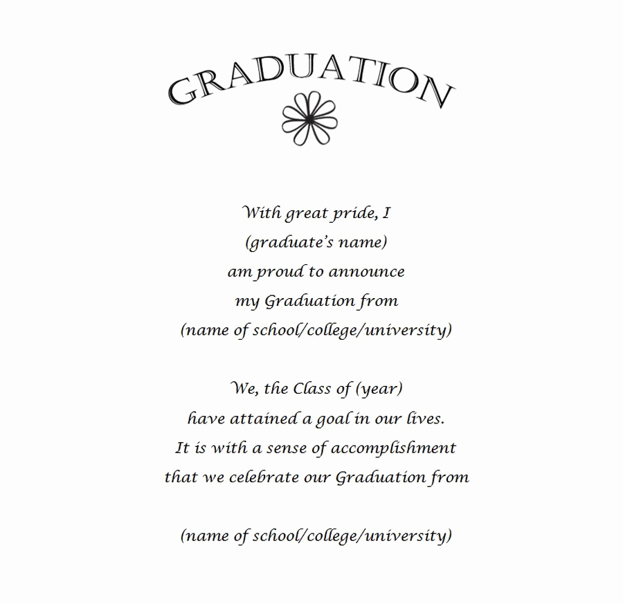 Sample Graduation Invitation Wording Luxury Graduation Announcements 12 Wording