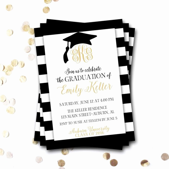 Sample Graduation Party Invitation Awesome Monogram Graduation Invitation Monogram Graduation