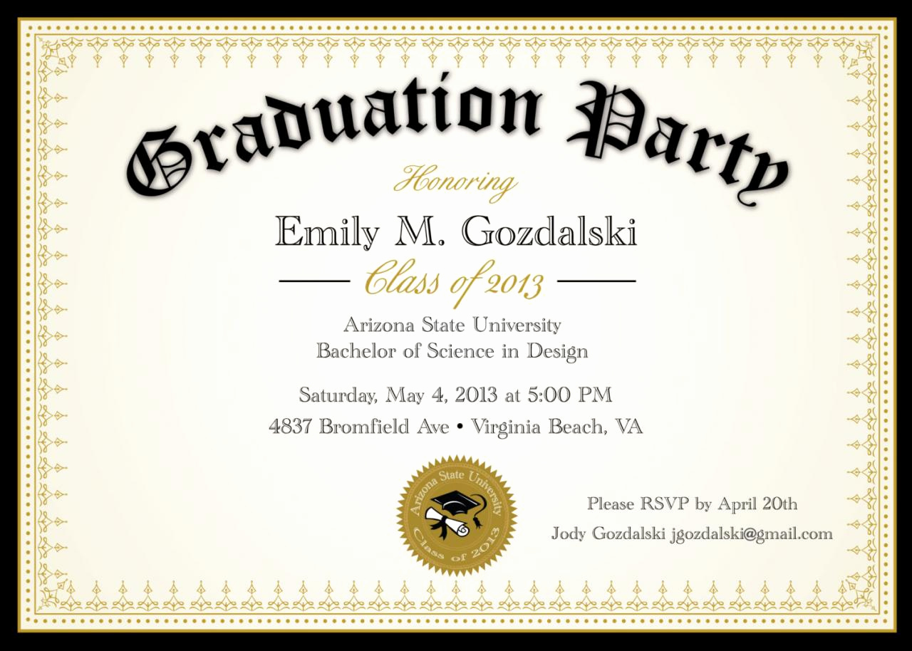 Sample Graduation Party Invitation Elegant Diploma Graduation Party Invitations Grad Announcement