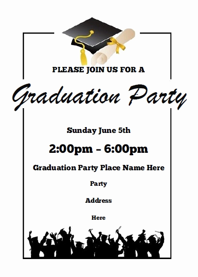 Sample Graduation Party Invitation New Graduation Party Invitations Free Printable