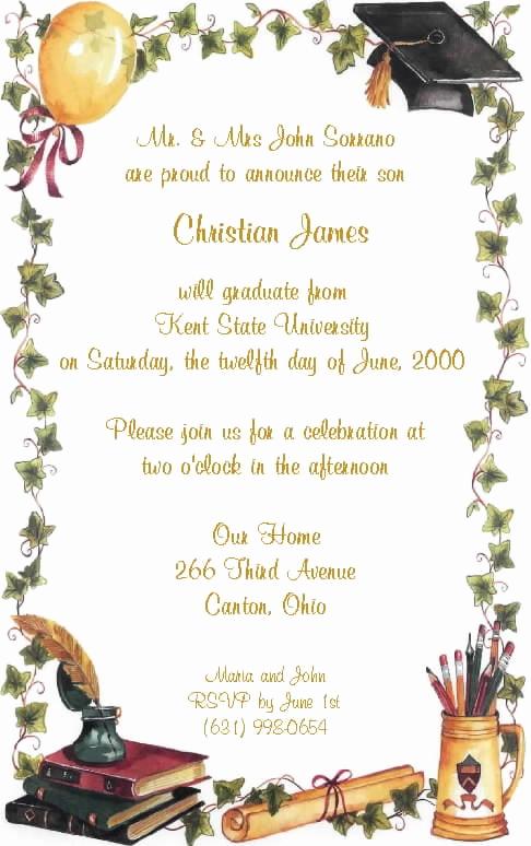 Sample Graduation Party Invitation Wording Beautiful Invitation to A Graduation Party