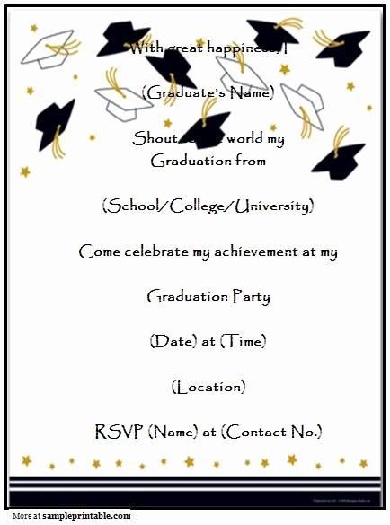 Sample Graduation Party Invitation Wording Unique Graduation Party Invitation Templates Free Printable