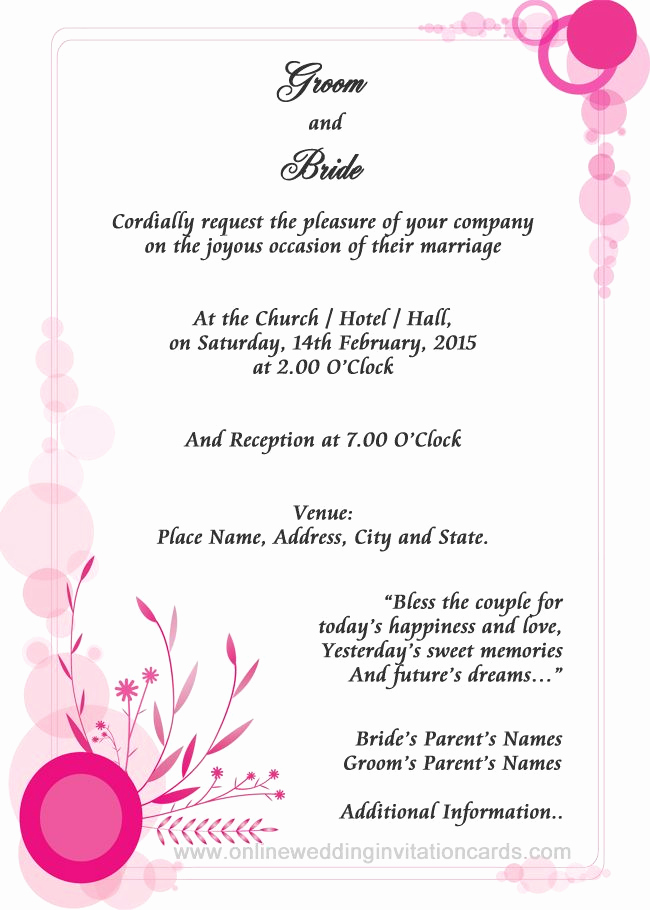Sample Of Weeding Invitation Elegant Examples Wedding Invitation Wording