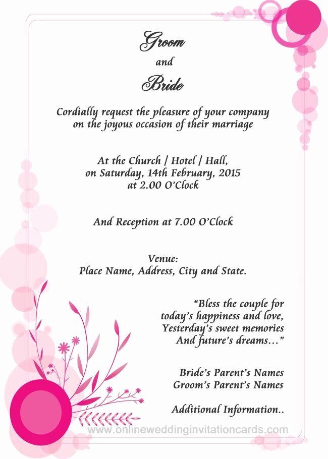 Sample Of Weeding Invitation Elegant Examples Wedding Invitation Wording
